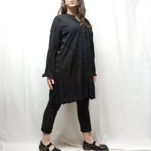 JOHNNY WAS Black on Black Baro Tunic Embroidered